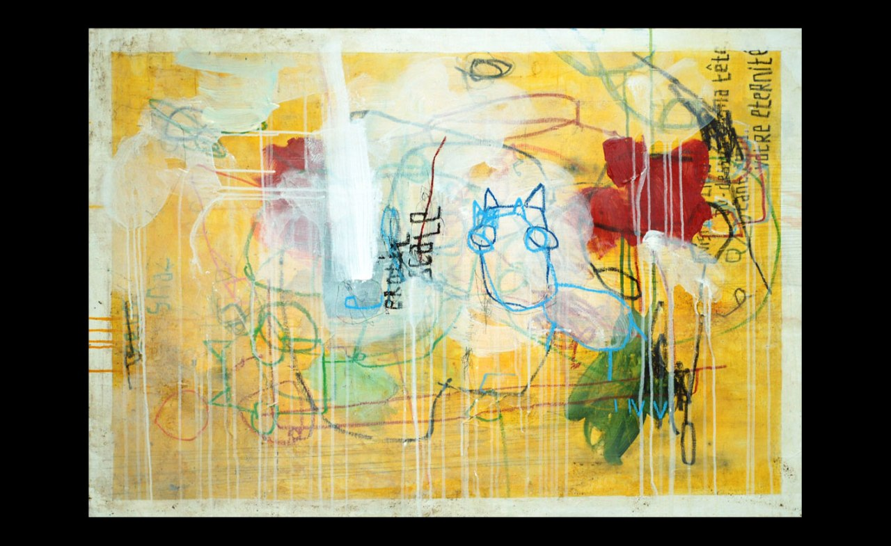 acrylic, pens, oil stick and tea on canvas _ 89 x 116 cm _ 35 x 45 inch