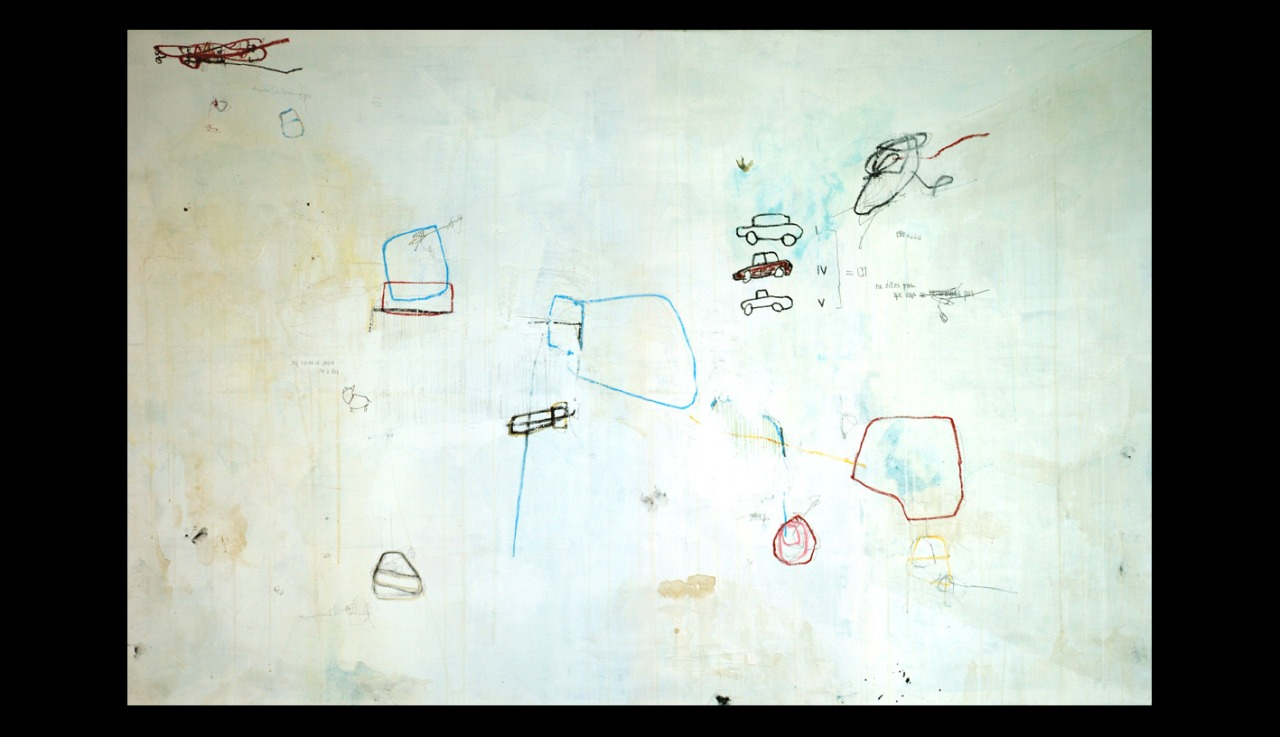 acrylic, pens, oil stick and tea on canvas _ 130 x 195 cm _ 51 x 78 inch