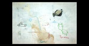 acrylic, pens, oil stick and tea on canvas _ 97 x 146 cm _ 38 x 57 inch