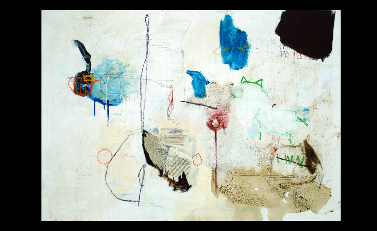 acrylic, pens, oil stick and tea on canvas _ 81 x 116 cm _ 32 x 45 inch