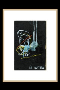 acrylic, pens, oil stick and tea on old cover book _ 39,5 x 26 cm _ 15.4 x 10 inch