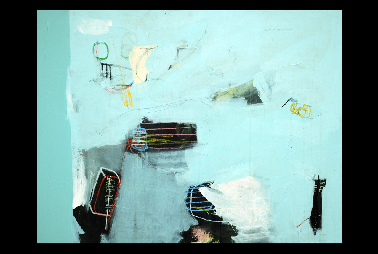 acrylic, pens, oil stick and tea on canvas _ 89 x 116 cm _ 35 x 45 inch
