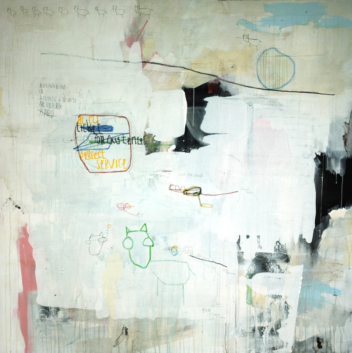 acrylic, pens, oil stick and tea on canvas _ 150 x 150 cm _ 59 x 59 inch