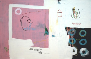 acrylic, oilstick, pen and tea on canvas _ 97 x 146 cm _ 38 x 57 inches