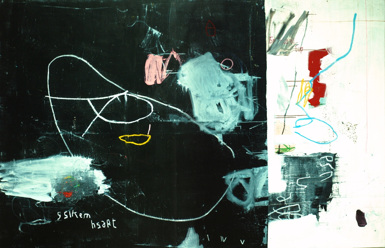 acrylic, pens, oil stick and tea on canvas _ 130 x 195 cm _ 51 x 78 inch