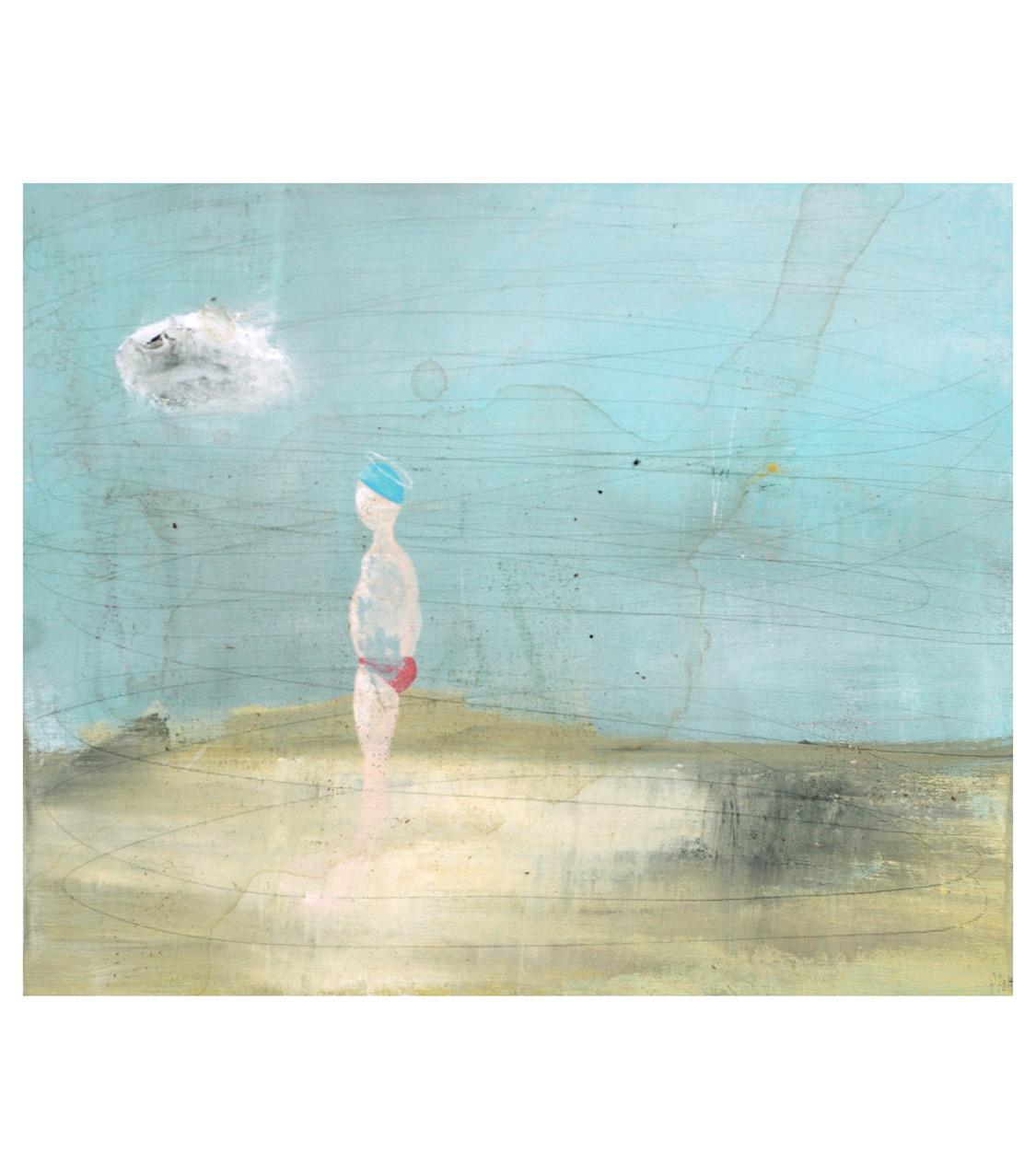 acrylic, pens and tea on canvas _ 38 x 46 cm _ 14 x 18 inch